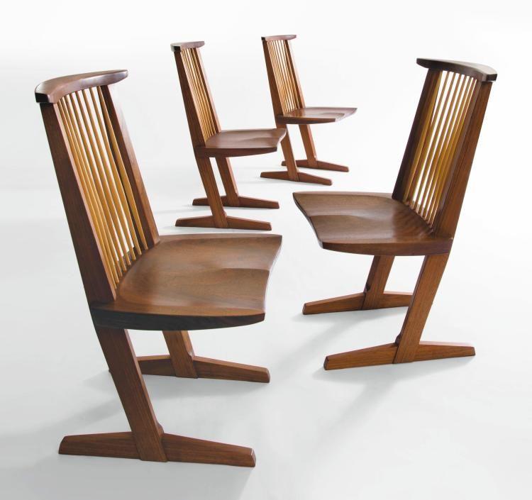 "GEORGE NAKASHIMA Rare Four Single Board ""Conoid"" Chairs"