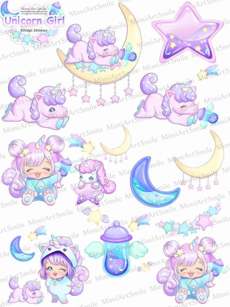 Unicorn Girl Clipart Kawaii Baby Unicorn Clip Art Cute Etsy In 2020 Baby Unicorn Clip Art Free Digital Scrapbooking Kits