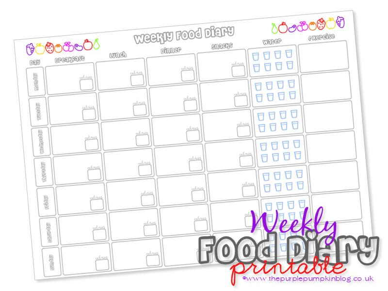 Weekly Food Diary Food diary, Free printable and Food - exercise log template