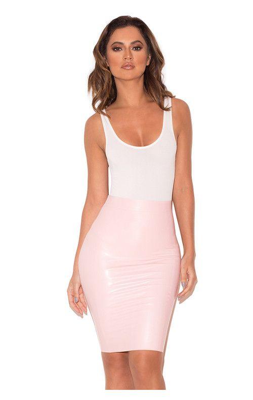 324ab367dc99 Sofia Baby Pink Latex Pencil Skirt | latex pencil skirts | Bodycon ...