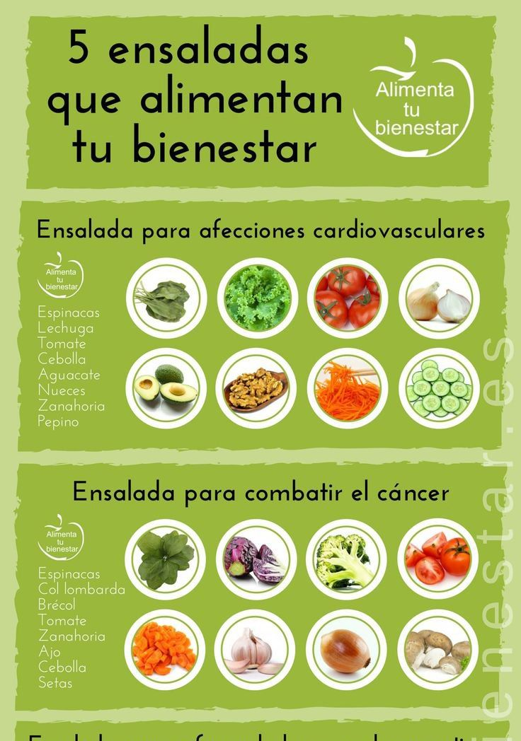 Diferentes tipos de ensaladas de vegetales
