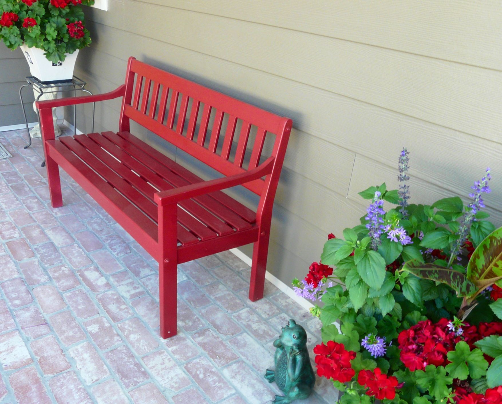 Front Porch Red Bench Red Bench Patio Landscaping Red Door