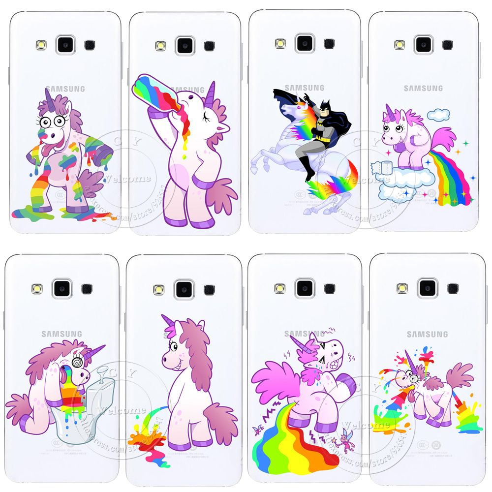 82de063f905 היפופוטם חמוד קשת Unicorn סוס נקה פלסטיק קשיח Case כיסוי עבור Samsung גלקסי  A3 A5 A7 A8 J1 J5 J7 2016 A300 A500 A700