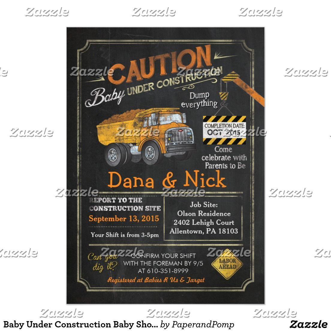 Baby Under Construction Baby Shower Invitation | Shower invitations ...