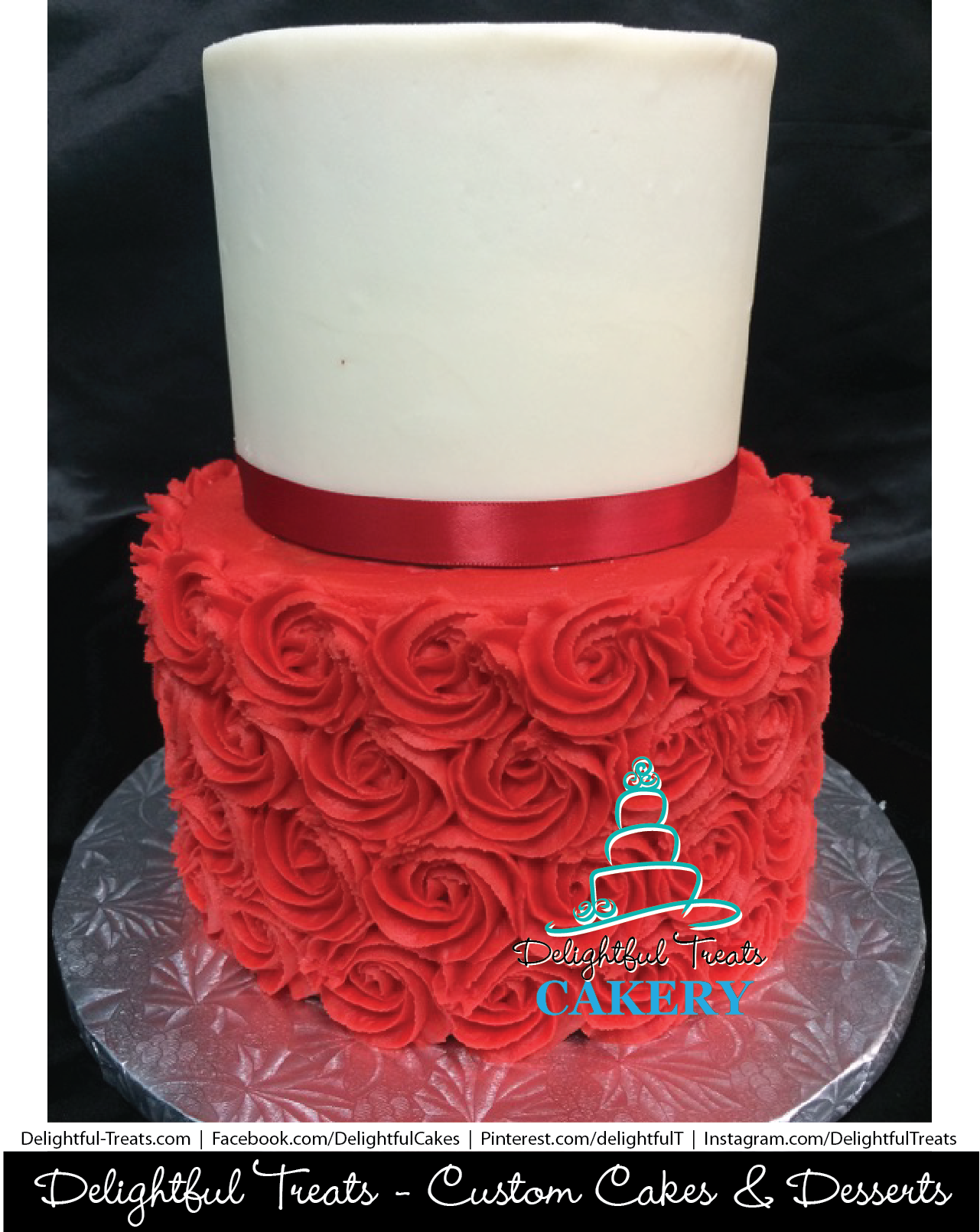 Red White Mini Wedding Cake By Delightful Treats Cakery Orlando