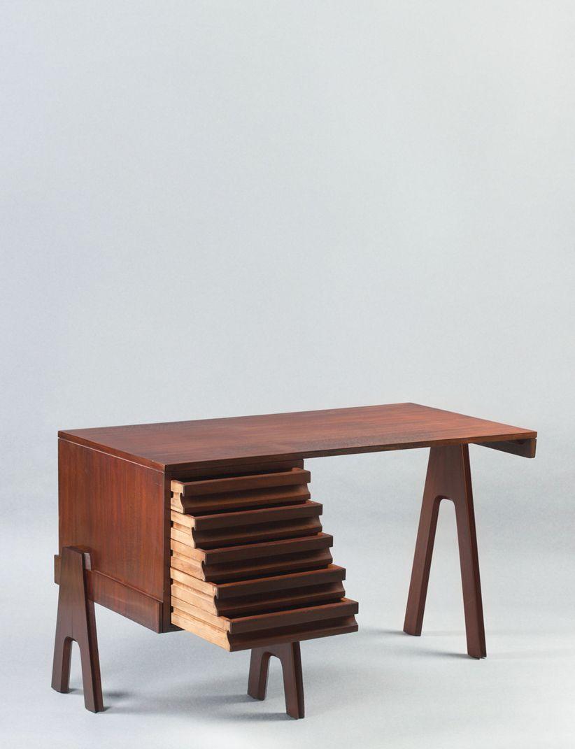 Angelo Mangiarotti Desk 1955 Mahogany Italy Angewandte Kunst Mobeldesign Kunst