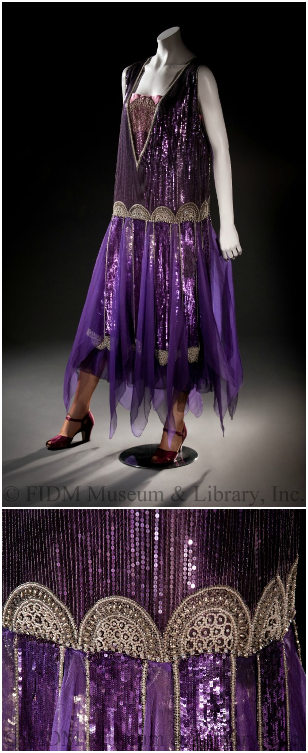 Purple chiffon dress, embellished with sequins, pearls, and diamante. Paul Poiret, Paris, France. 1928. Helen Larson Historic Fashion Collection. Via FIDM Museum Blog.