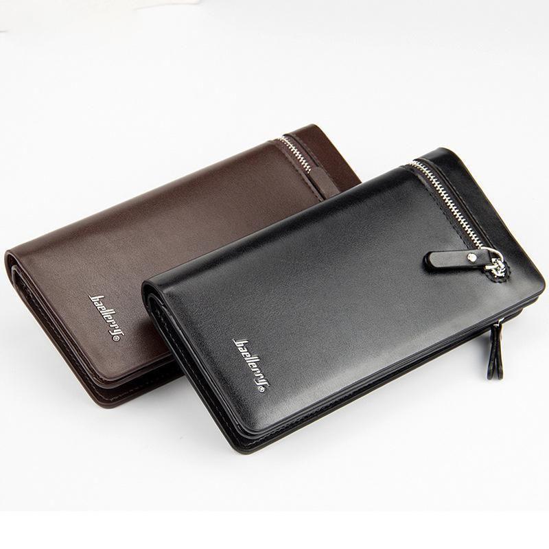Men/'s Leather Bifold ID Card Holder Long Wallet Purse Checkbook Clutch Billfold