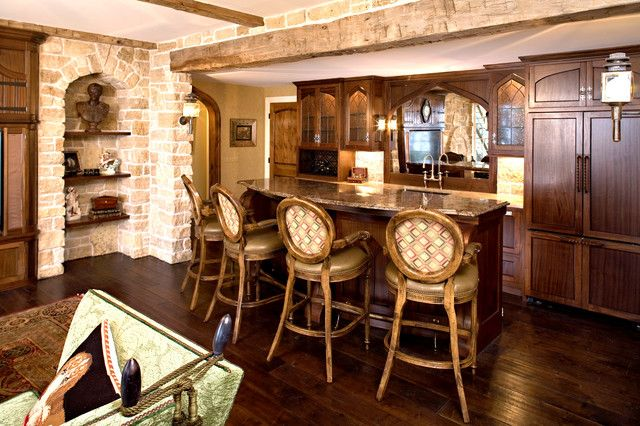 : Wonderful Traditional Kitchen With Interesting Chairs On ...