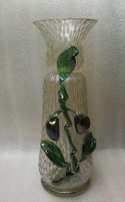 ANTIQUE KRALIK GLASS VASE MARTELE APPLIED FRUITS & LEAVES IRIDESCENT DECOR 10.5! in Pottery & Glass, Glass, Art Glass, Bohemian, Czech, Kralik | eBay