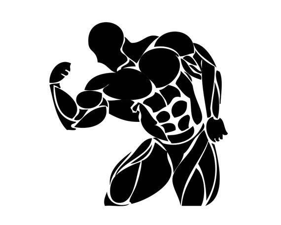 Bodybuilder 4 Muscle Fit Weightlifting Bodybuilding Pose Etsy Body Builder Art Bodybuilding Logo Human Icon