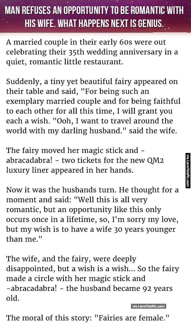 Man Refuses An Opportunity To Be Romantic With His Wife But What Happens Next Is Genius Funny Jokes To Tell Good Jokes Really Funny