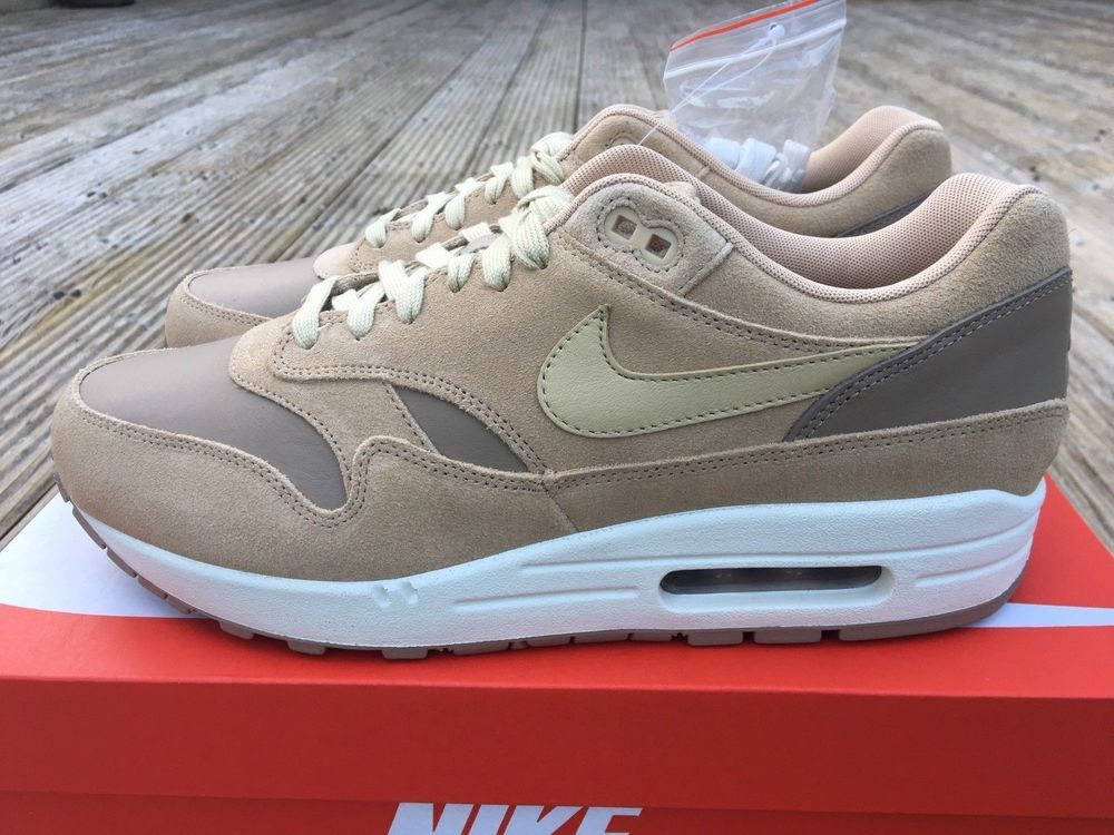 new product 98396 f4574 Nike Air Max 1 Premium Leather Mens Trainers Sneakers Cargo Mushroom  Brand New  eBay