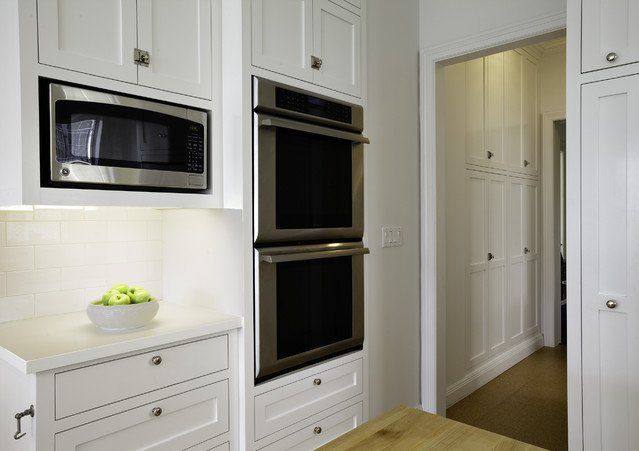 White Kitchen With Built In Cabinetry For Microwave Or Oven Decorioo Double Oven Kitchen Buying Kitchen Appliances Built In Pantry