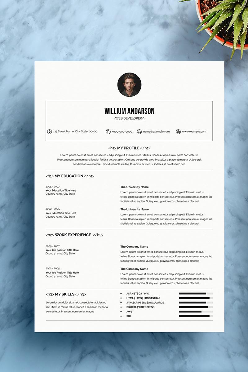 Web Developer Resume Template In 2020 Resume Template Minimal Resume Template Web Designer Resume