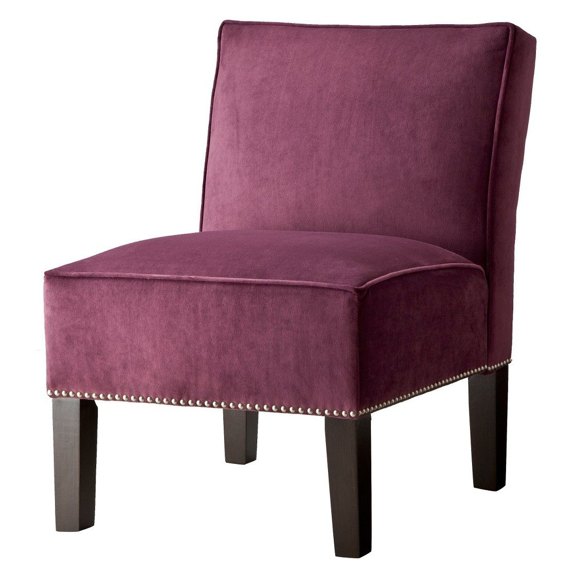 Burke Velvet Slipper Chair with Nailhead Trim