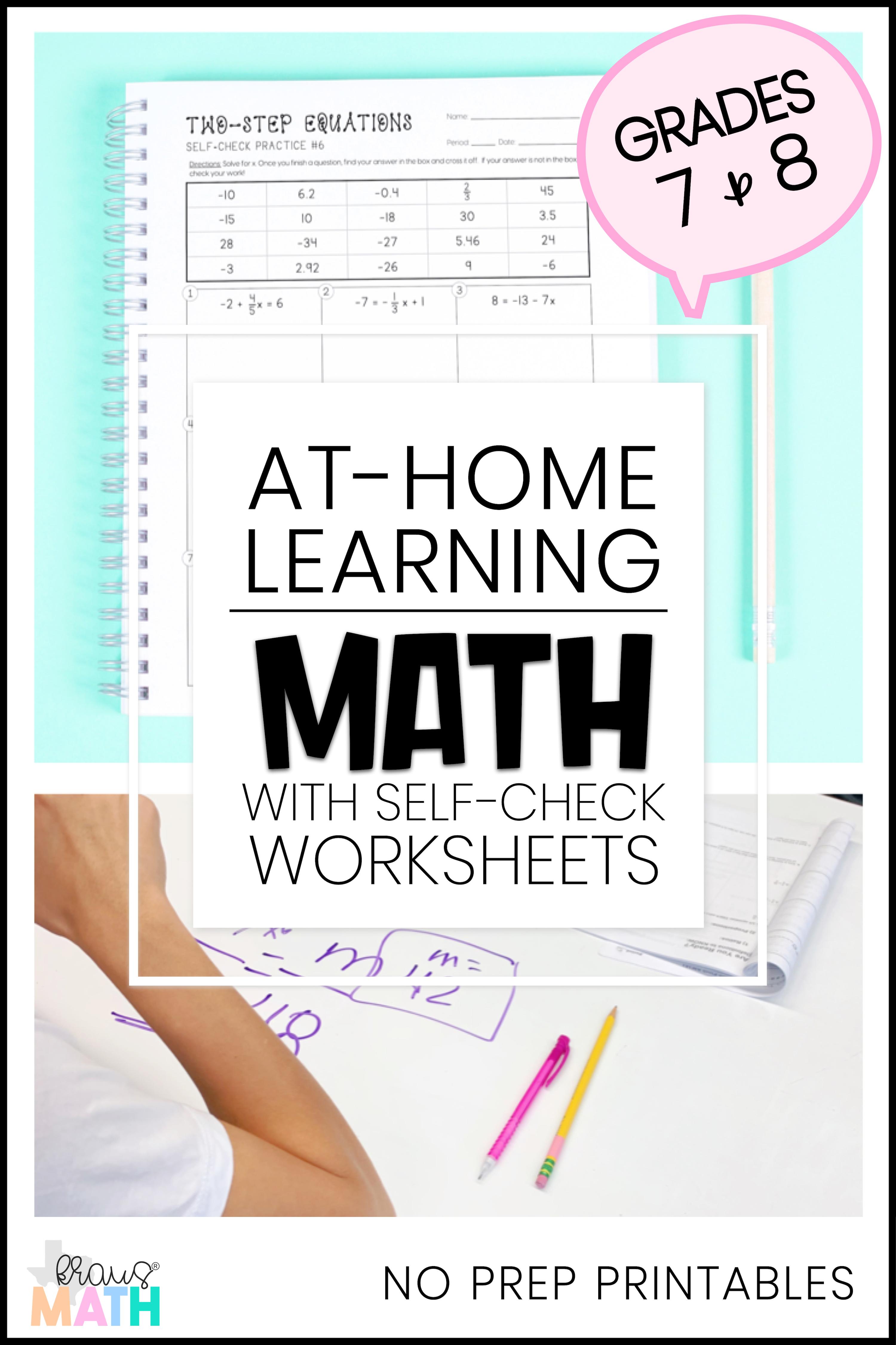 Two Step Equations Self Check Worksheets Teks 7 11a Kraus Math Two Step Equations Equations Learning Math [ 4500 x 3000 Pixel ]