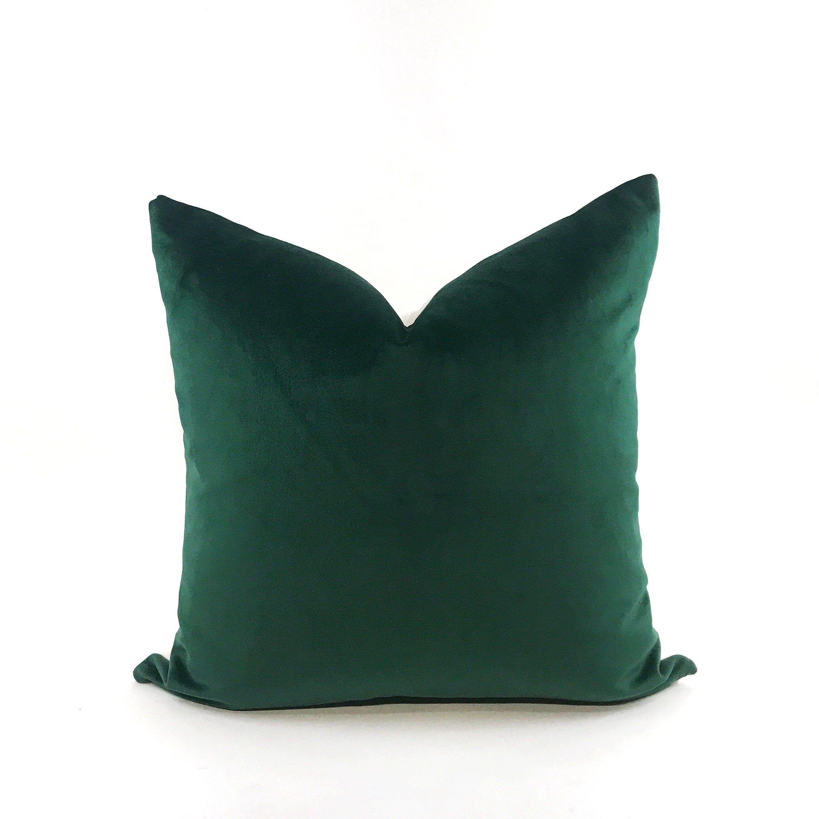 Hunter Green Velvet Throw Pillow Cover