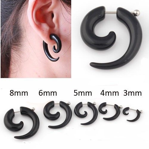 PAIR of Steel Fake Cheater Plugs for Pierced Ears Post Goth Punk Gauges 3mm-6mm