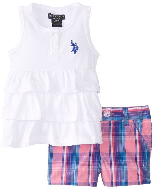 U S Polo Assn Baby Girls Newborn Tank Top With Plaid Short Shorts