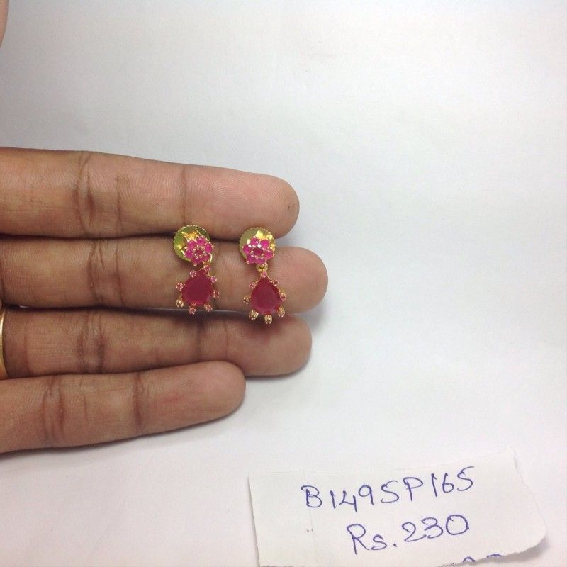 Ruby Stone Earrings Online B1495p165 Silver Dangle