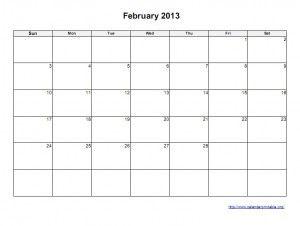 February 2013 Calendar Printable