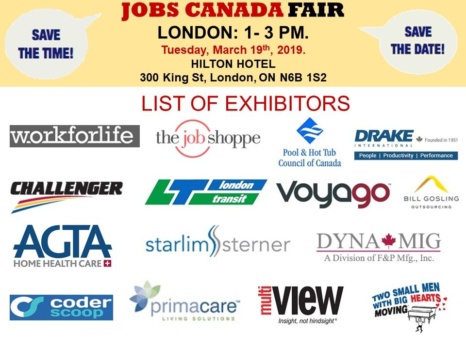 List of Hiring Companies for London Job Fair March 19th