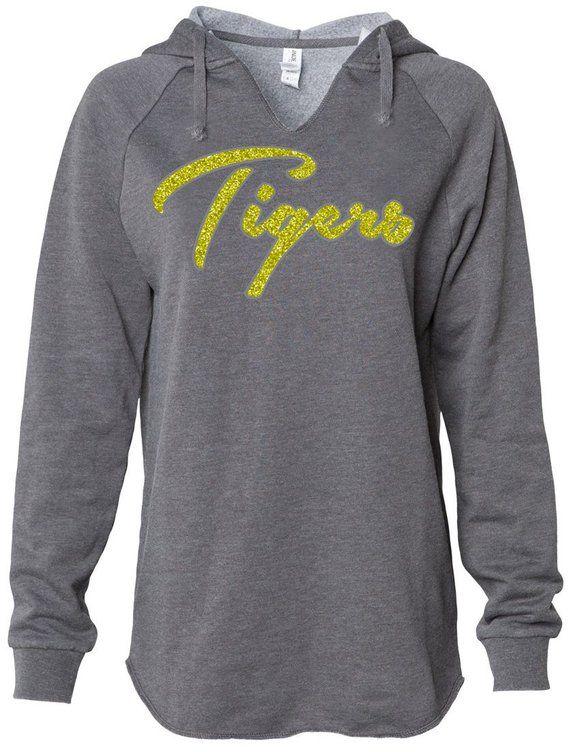 bcb2446e30a9 Glitter TIGERS Mascot Womens Sweatshirt // Tiger Bling V-neck Hoodie, Ladies  Sparkle Tiger Fan Shirt