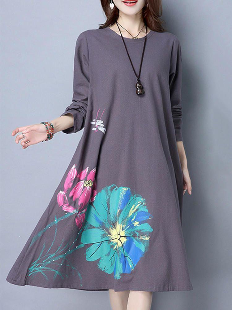 9728ddd220b Women Long Sleeve Floral Printed Pure Color Vintage Dresses - Banggood  Mobile