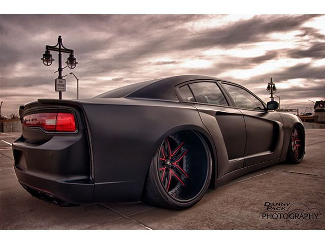 bagged matte black widebody charger r t on forgiato wheels for sale friday rides magazine. Black Bedroom Furniture Sets. Home Design Ideas