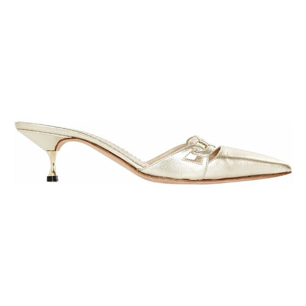 Pre Owned Gold Manolo Blahnik Leather Mule Pumps 135 Liked On Polyvore Featuring Shoes Pumps Slip On Shoes Gold Kitten Hee Designer Wanabe Gold