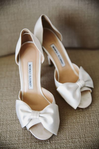 Gussied up with a bow: http://www.stylemepretty.com/2015/10/12/our-fave-manolo-blahnik-shoes-for-the-bride/