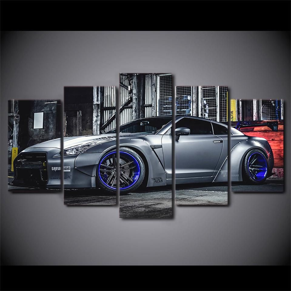 5 Pcs Canvas Art NISSAN GTR R35   Grey With Blue Anodized Rims