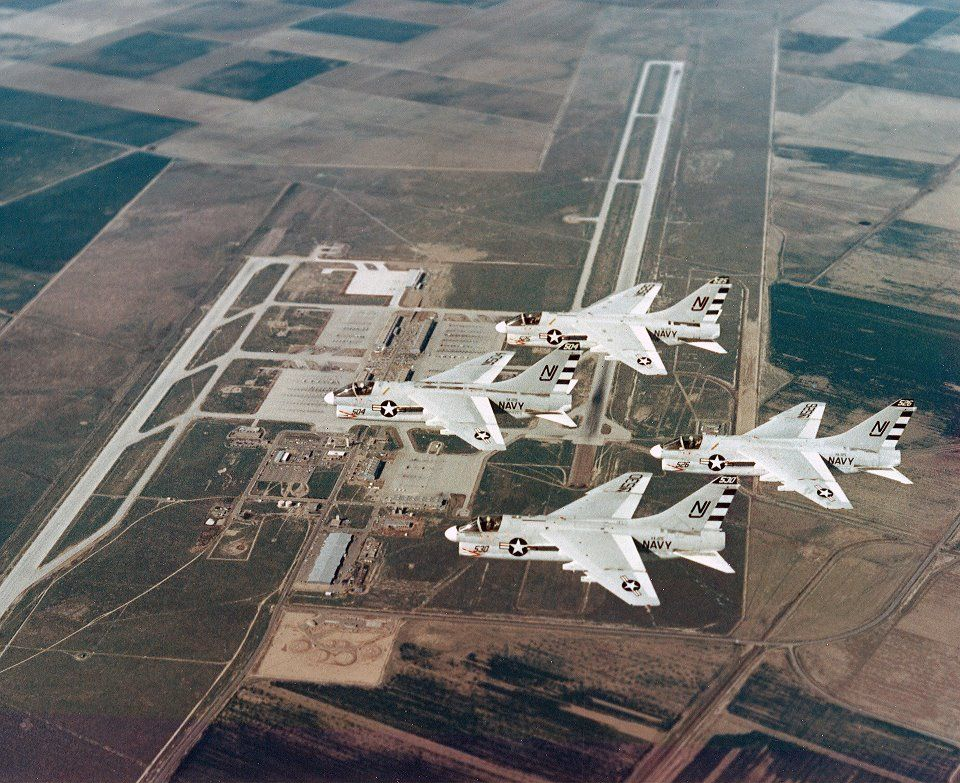 A flight of four A-7 Corsair II aircraft of Attack Squadron (VA) 125 pictured in flight over Naval Air Station (NAS) Lemoore, California, on February 15, 1970, forty-two years ago today.     And they probably flew right over my house in Hanford, CA.  3 months before I graduated from Hanford Joint Union High School!