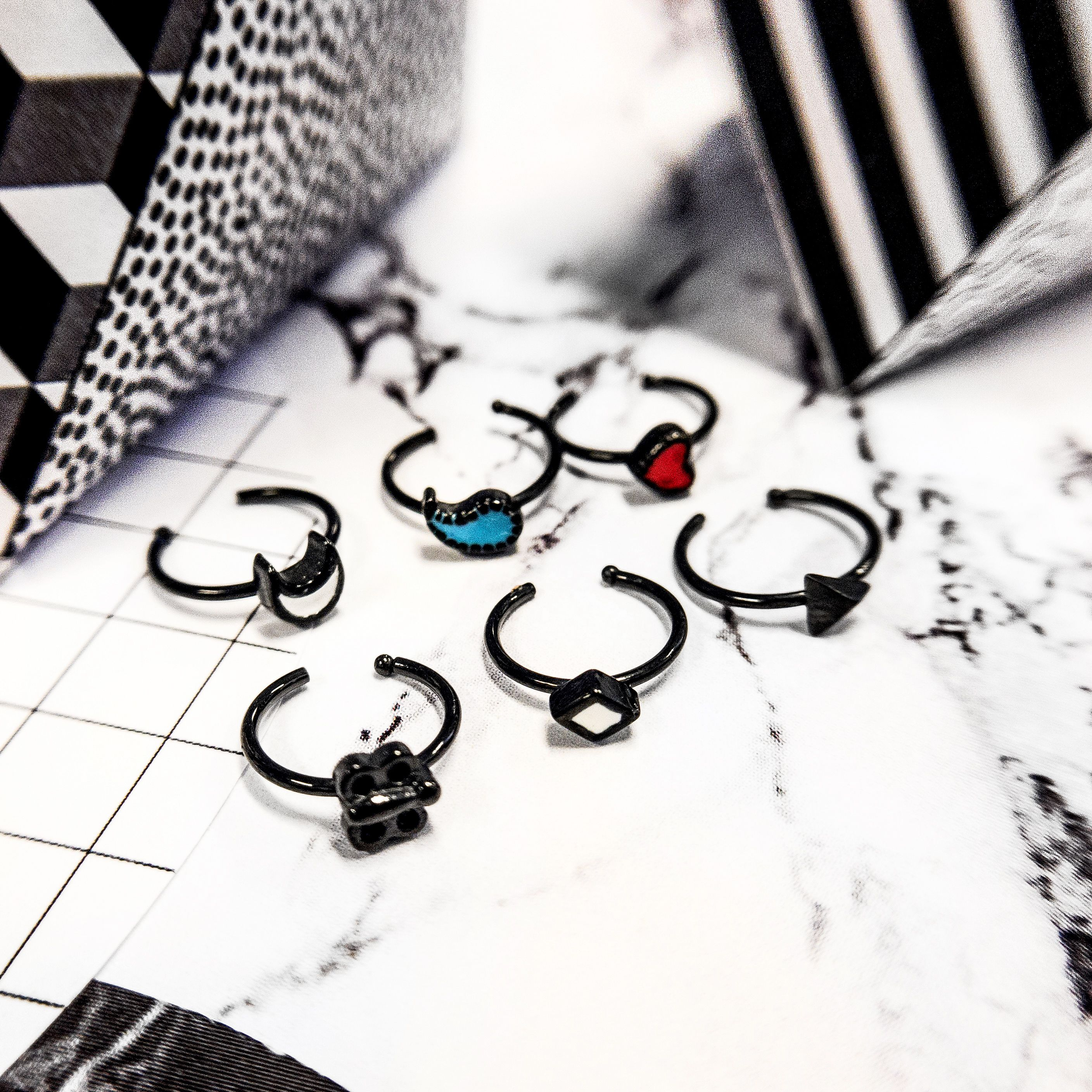 Nose piercing cut out   BLACK NOSE RING  Available in gauge of mm and length is mm