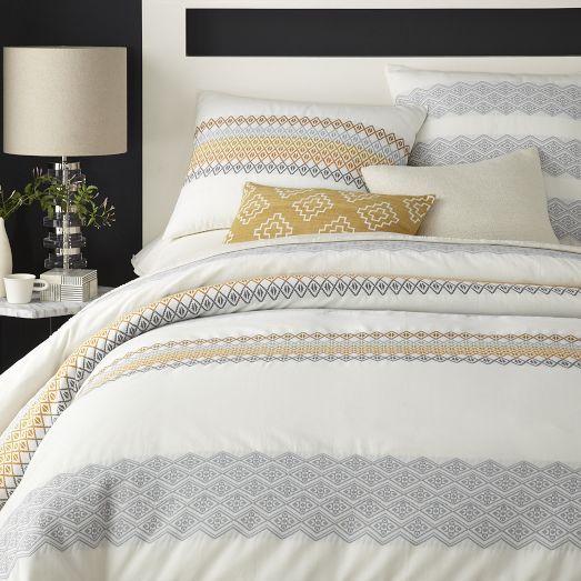 Coyuchi Organic Dobby Duvet Cover Shams Tangerine Home Bedroom Coyuchi Home