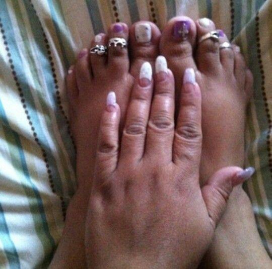 Lavender White Oval Nails Nail Design Nail Art Pedicure Manicure