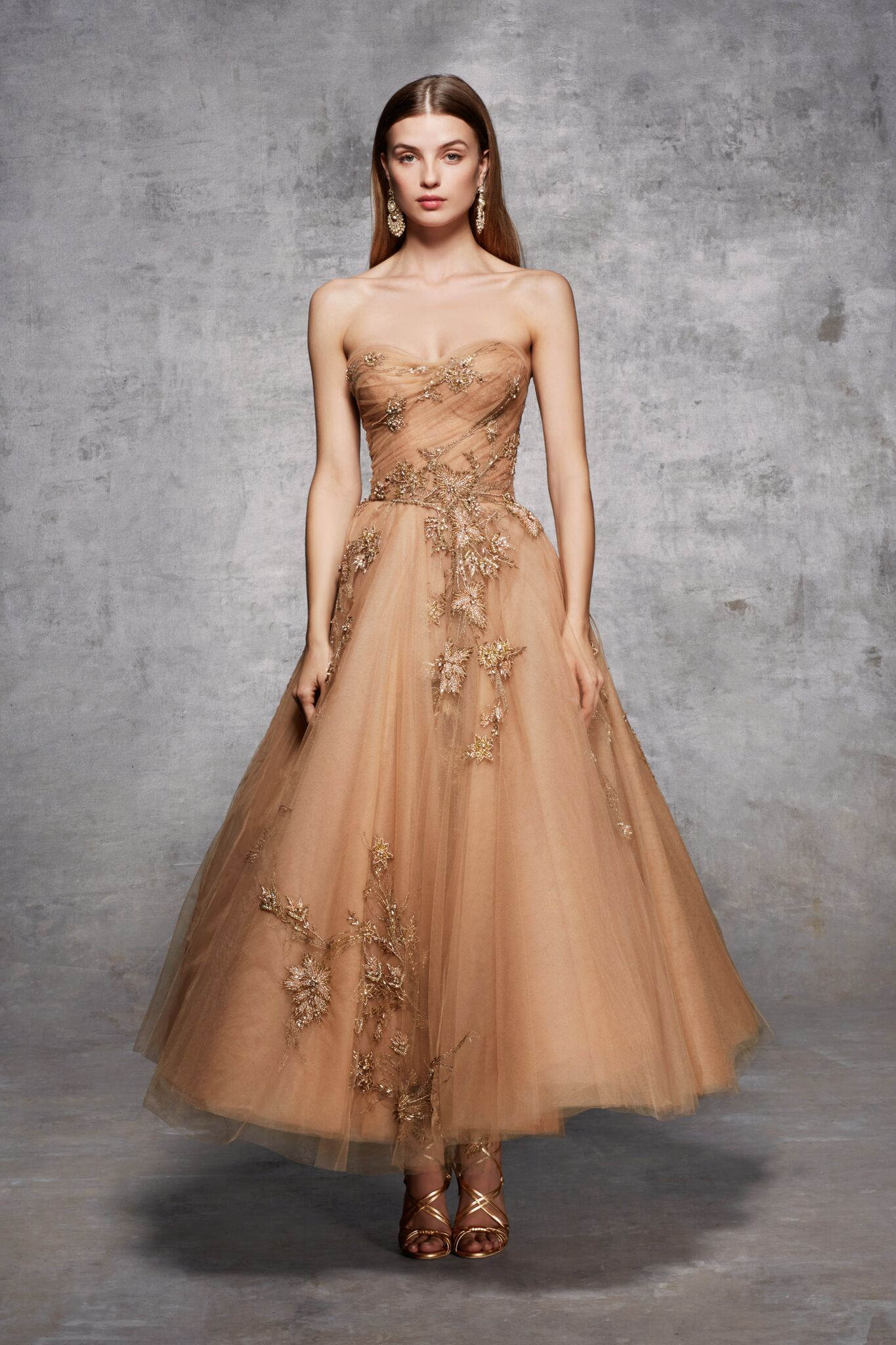 Strapless tulle tea length aline gown with draped bodice gold