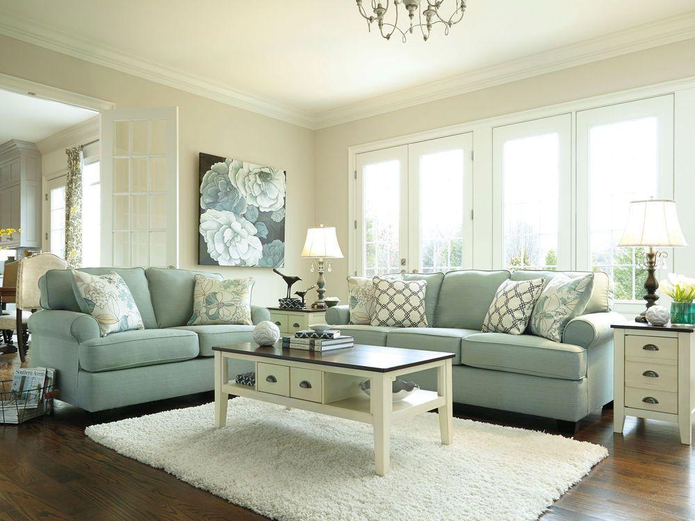 Parkside Modern Blue Microfiber Sofa Couch Loveseat Set Living