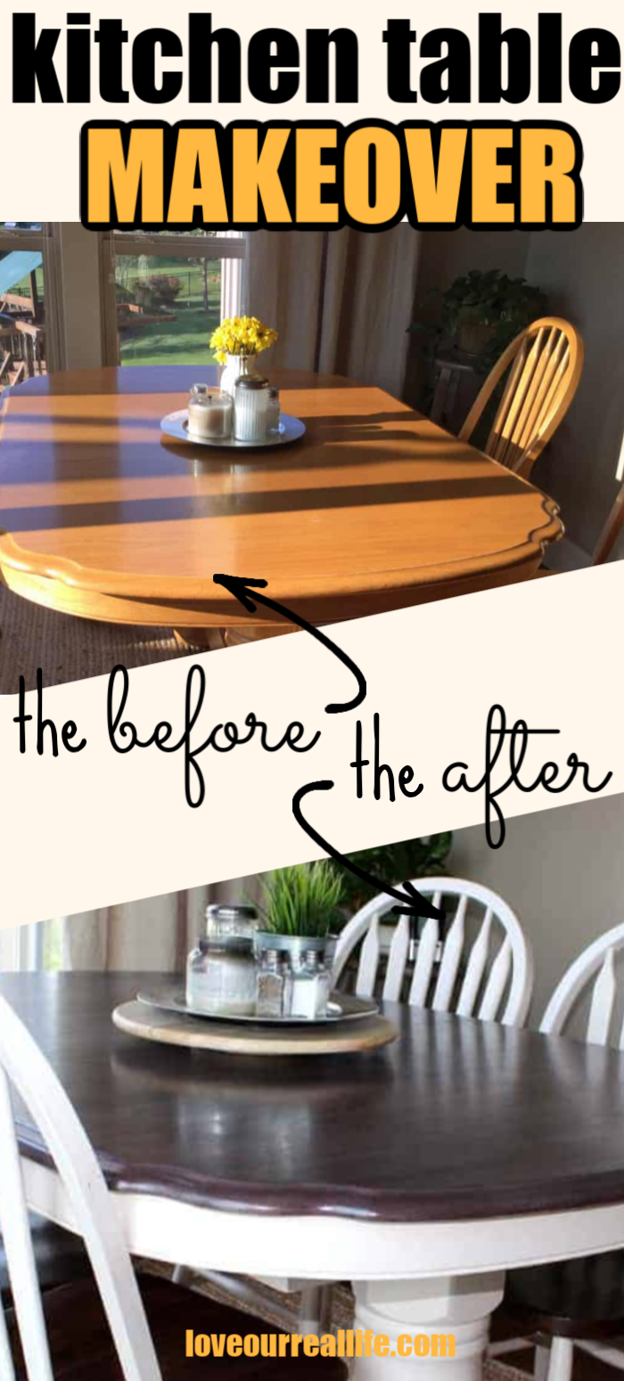 Kitchen Table Makeover Using Chalk Paint And Wood Stain Love Our Real Life Dining Room Furniture Makeover Dining Room Table Makeover Chalk Paint Dining Room Table