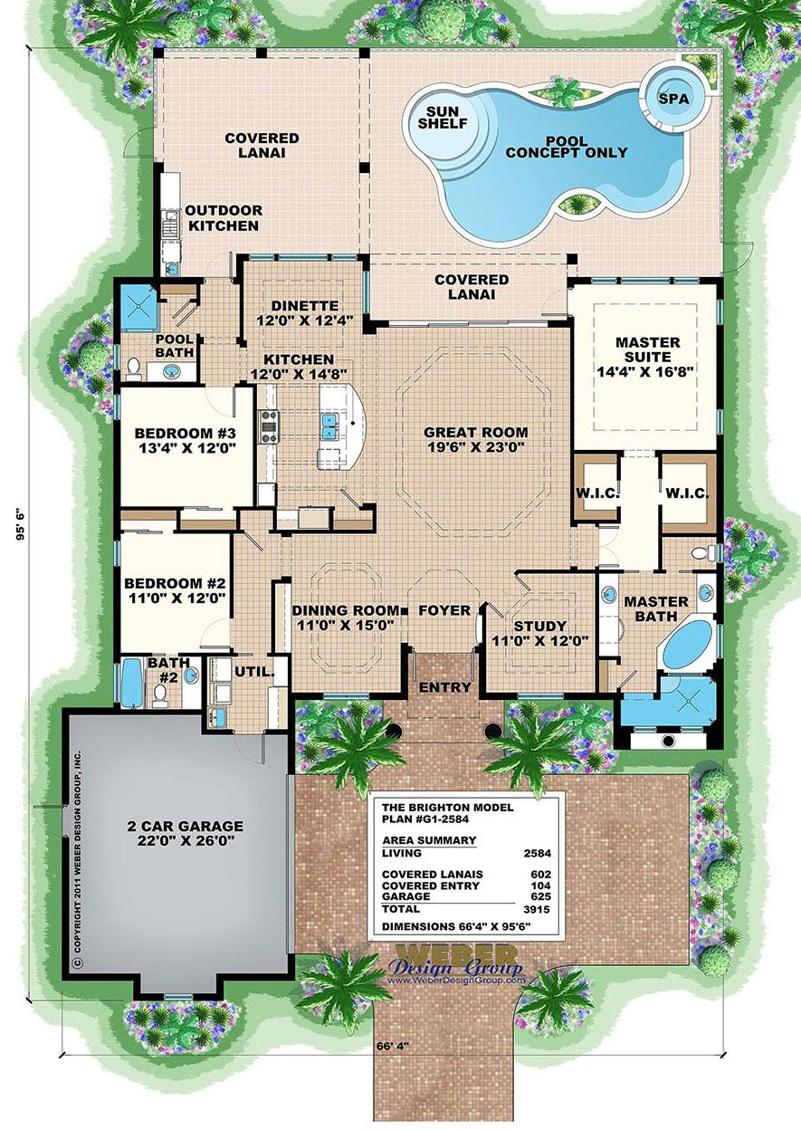 Mediterranean House Plan Small Home Floor Plan With Swimming Pool Mediterranean Homes Brighton Houses House Plans