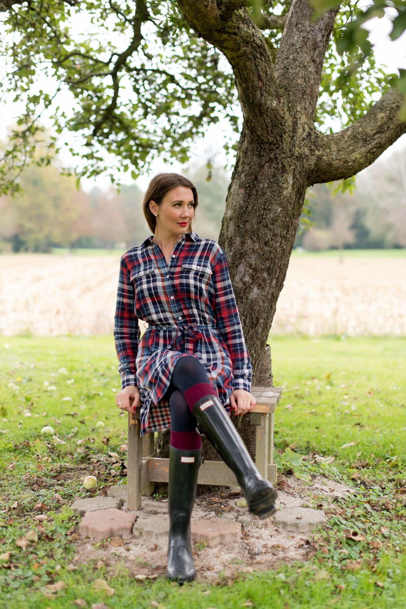 gap-karo-kleid-dress-hunter-stiefel-boots-gummistiefel-