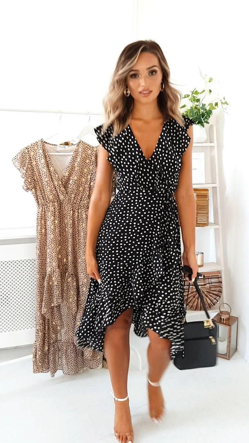 Rhona Polka Dot Wrap Midi Dress At Ikrush Number Of Different Styles Fabrics And Colors And Therefor Wrap Dress Outfit Fashion Dresses Casual Summer Dresses [ 1438 x 809 Pixel ]