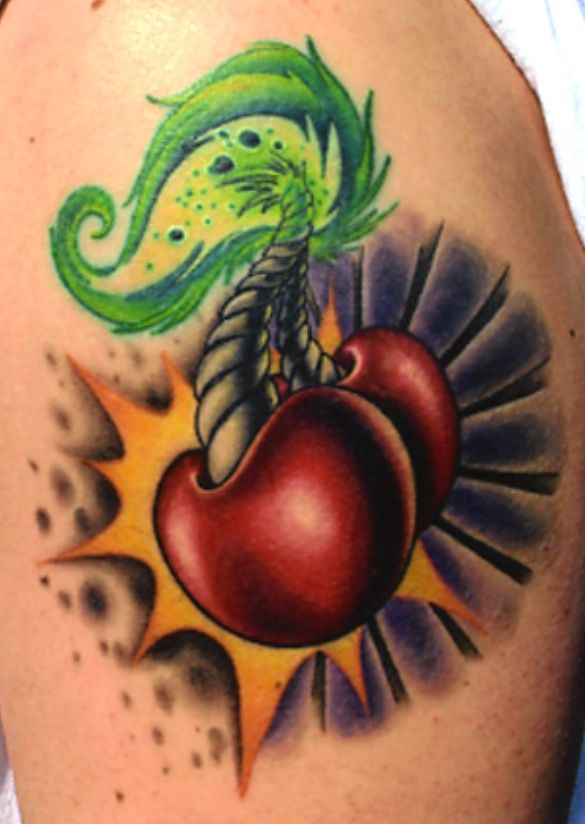 Cherry Bombs!!!!! A man's version of the classic cherry tattoo.....really thinking about this one with a couple of little changes for my next tattoo!!