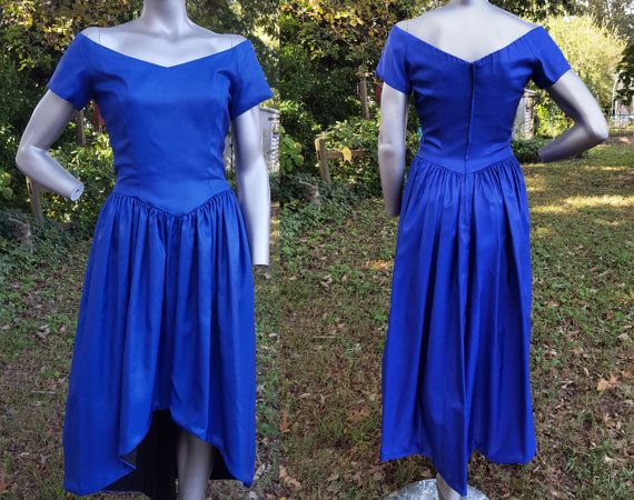 80s Prom Dress in Blue & Black / 80s Costume / High Low Dress ...