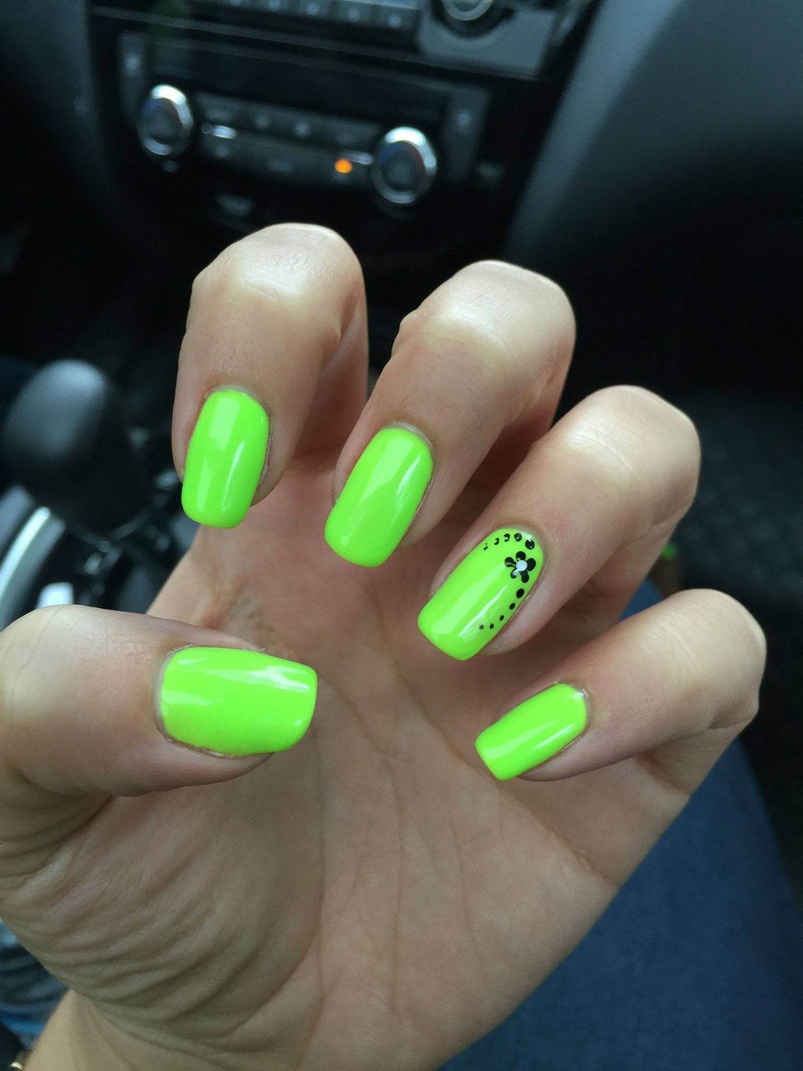 Neon Green Nails Lime Vacation Flower Accent Nail Real Gel