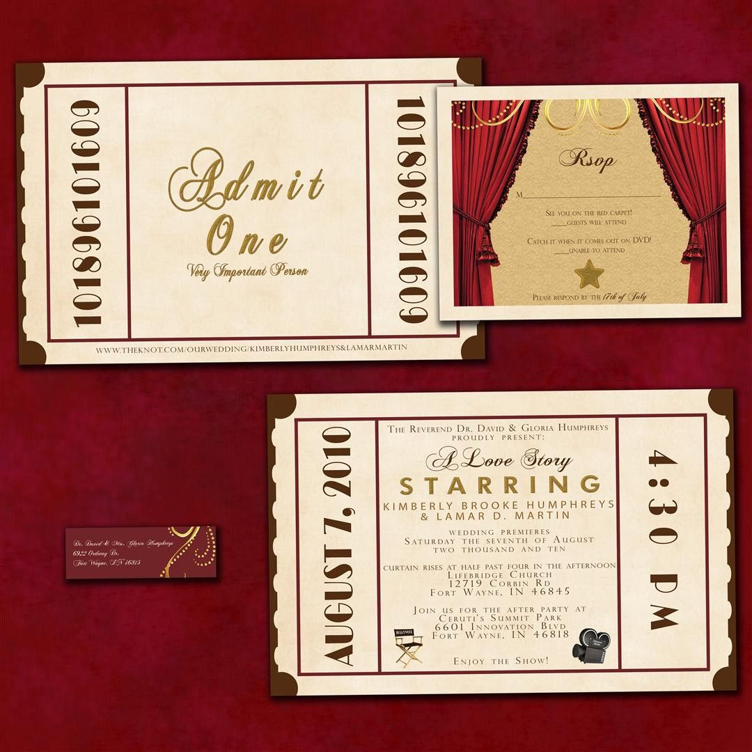 Antique Theatre Ticket Custom Wedding Invitation Sample Packet