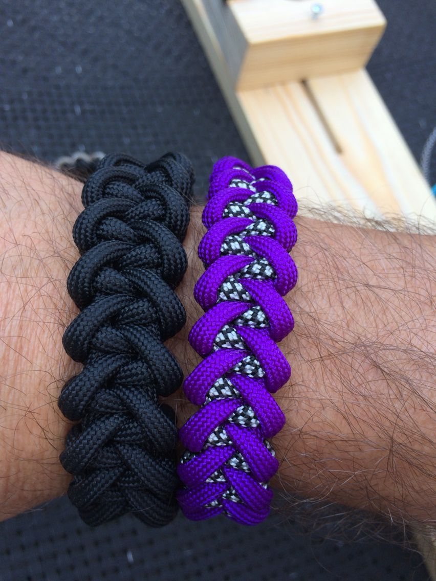 750 Black Jawbone Paracord Bracelet and a 550 Purple Jawbone Paracord Bracelet by SpeedBird