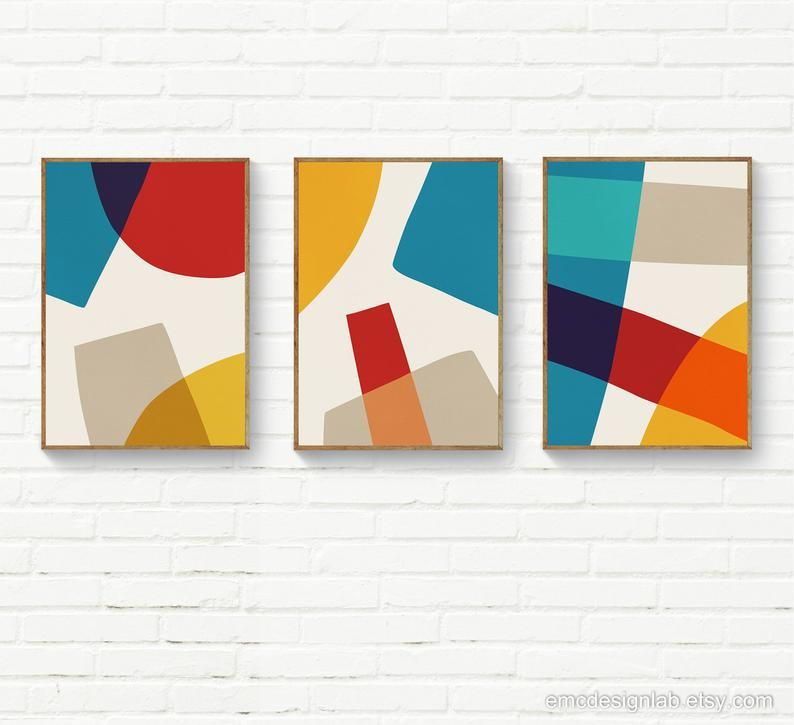 Set Of 3 Abstract Contemporary Art Beige Red Blue Yellow Etsy Abstract Poster Abstract Geometric Art Geometric Painting
