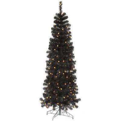 Vickerman 75\u0027 Black Pencil Artificial Christmas Tree with 250 LED